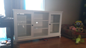 White glass door credenza