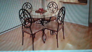 GLASS TOP DINING TABLE AND 4 CHAIRS FROM BOWRINGS