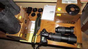 Nikon D90 DSLR with two VR lenses +extra's in like new condition