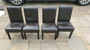 4 Kids Leather Parsons Chairs $25 each - 4 for $80