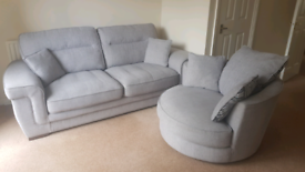 Three Seater Fabric Sofa and Swivel Chair
