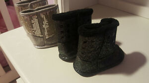 Silver and black baby boots