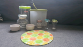 Food storage/ containers/ boxes/ glass desk