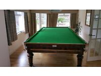 Snooker table, antique, full size inc balls and cues