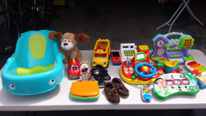 Baby clothing ,Toys , bathing , and shows.