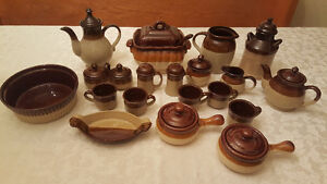 Stoneware Brown Dinnerware Set Teapot Cup Soup