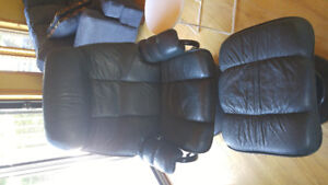 Leather Reclining Chair and Stool