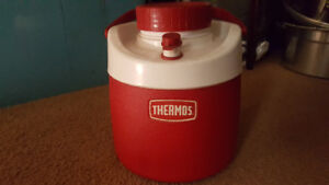 Coleman ice box and thermos water bottle