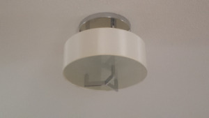 Modern Flushmount Chrome/White Fabric light fixture