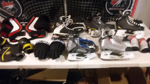 Hockey skates, chest protector,  elbow pads and gloves