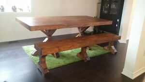 Handcrafted Harvest Table and Bench