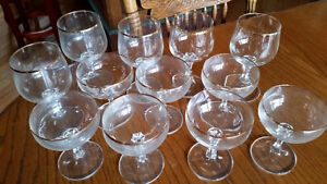 Vintage wine and champagne glasses with real gold trim