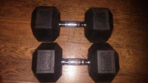 Pair of 65 Pounds Rubber Hex Dumbbells