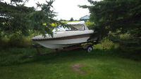 16ft runabout boat 60hp with it tilt trailer