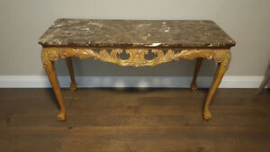 French Provincial Hand Carved Console Table/Server w Marble Top Kitchener / Waterloo Kitchener Area image 4