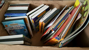 Box of kids DVDs and books