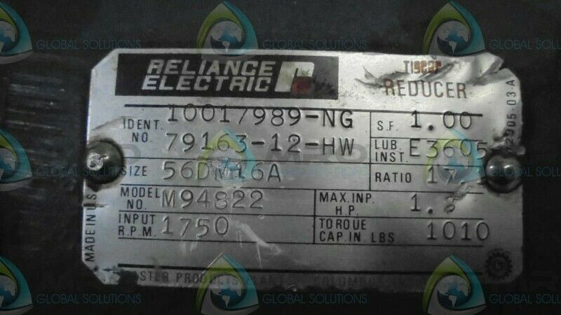 RELIANCE ELECTRIC M49822 TIGEAR SPEED REDUCER * USED *