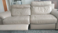 Electrical Reclining leather beige couch