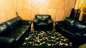 Black leather couch, loveseat and chair
