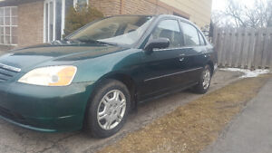 2001  Civic certified and Etested 5 speed Low km172 Sedan