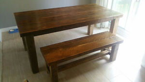 Reclaimed Barn Wood Table & Bench