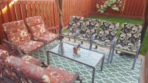 Patio furniture with cushions- USED - 9 Piece ( 8 Chair+1 Table)