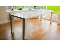 white high gloss extending dining table brand new