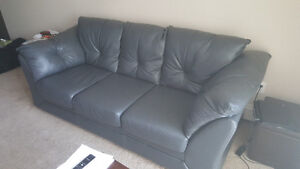 Grey Faux Leather Full-Size Sofa - In Great Condition