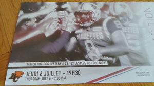 Montreal Alouettes vs BC Lions - July 6 - 2 tickets