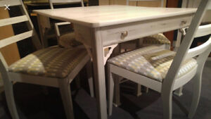 Mid Century Chalk Painted Dining Table & 4 Chairs *Real Wood*