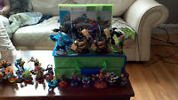 Various Skylander items: figures, games, portals, misc