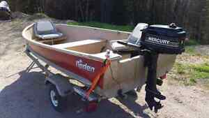 Boat with 5 hp motor and trailer