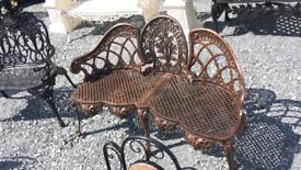 Beautiful cast and aluminium 3 seater garden benches