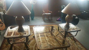 Living room table set and lamps