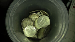 Canadian 80% Silver Dollars and 50 Cent Coins