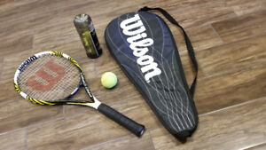 Wilson pro open 100 tennis racket with cover and 3 balls