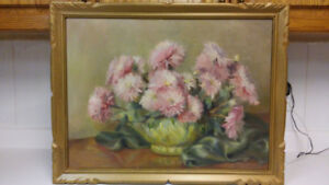Beautiful antique flowers oil painting