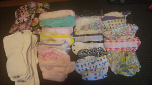 Cloth diapers (15) and  wet bags (2)
