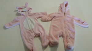 Two pink winter bunny snowsuits 0-3months