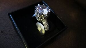 Woman's Sterling silver -14k white gold filled (Cz Diamond) ring