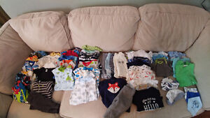 EUC Baby Boy Clothing 0-6m + Infant Swing. Prices listed below.