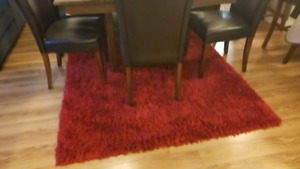 Large red shag rug