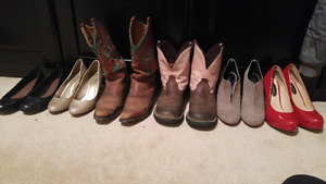 Shoes - cowboy boots, heels, and flats. Size 7-8