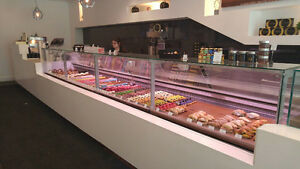 pastry cases, deli cases, fresh meat and fish cases, gelato case