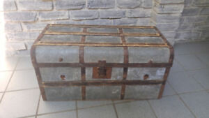 ANTIQUE TIN COVERED STORAGE TRUNK