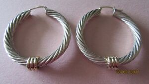 Large Fabulous Sterling Silver Cable Hoop Earrings with 14K Gold