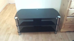 Tempered Glass TV Stand - Black