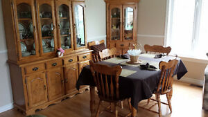 Dinning Table, 6 chairs, Corner cabinet