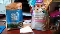 High-quality cat food (Natural Balance and HALO)