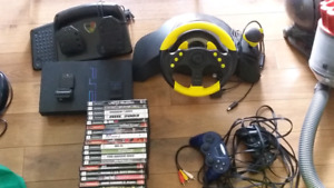 Ps2 with steering wheel pedals, 2 controllers and games